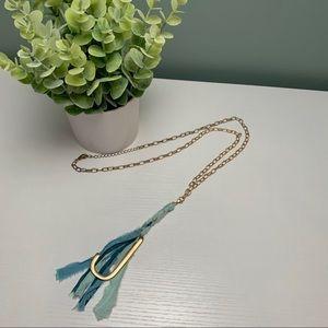 Jewelry - 💙 J Monogram Ombré Tassel Necklace • Blue • Gold